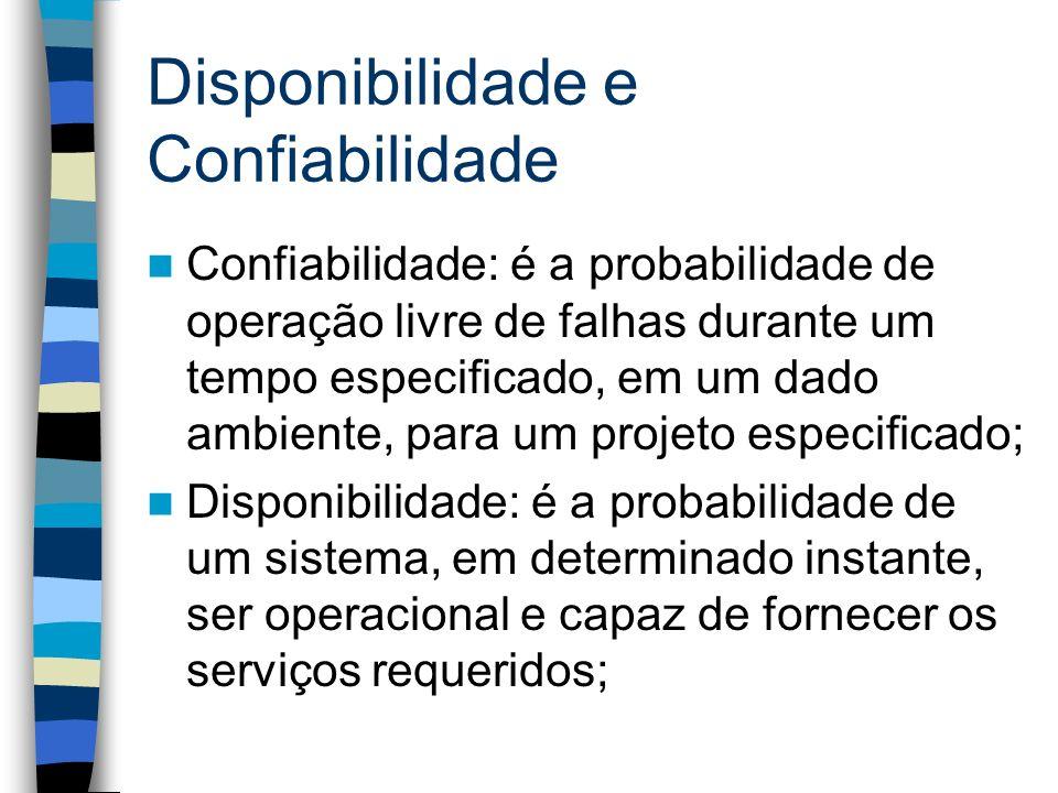 Disponibilidade e Confiabilidade Confiabilidade: é a probabilidade de operação livre de falhas durante um tempo especificado, em um dado ambiente, par