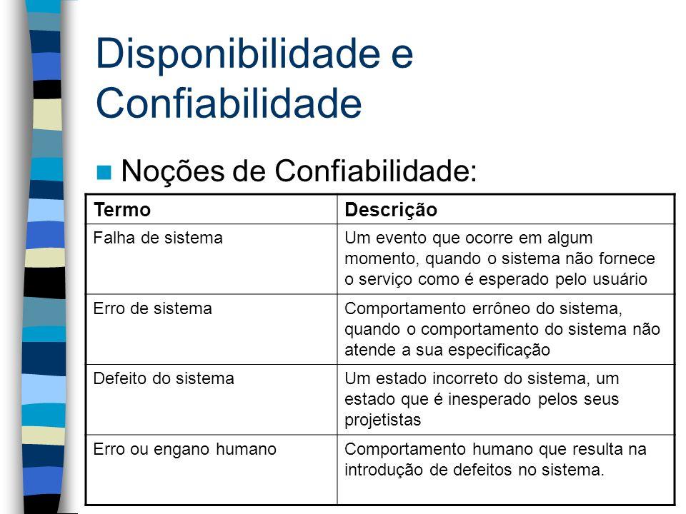 Disponibilidade e Confiabilidade Noções de Confiabilidade: TermoDescrição Falha de sistemaUm evento que ocorre em algum momento, quando o sistema não