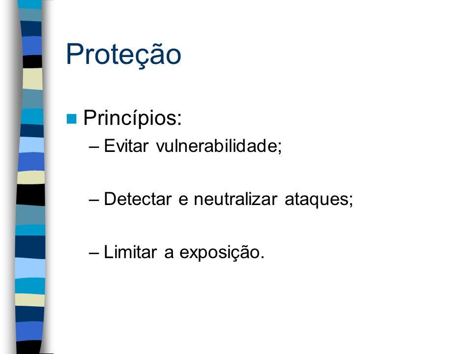 Proteção Princípios: –Evitar vulnerabilidade; –Detectar e neutralizar ataques; –Limitar a exposição.