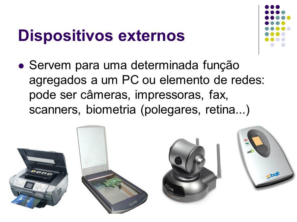 Dispositivos externos Servem para uma determinada função agregados a um PC ou elemento de redes: pode ser câmeras, impressoras, fax, scanners, biometr