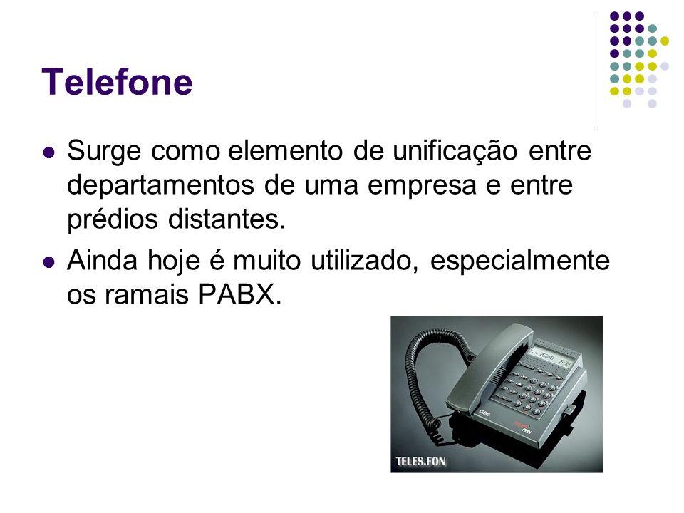 Telefone Surge como elemento de unificação entre departamentos de uma empresa e entre prédios distantes. Ainda hoje é muito utilizado, especialmente o