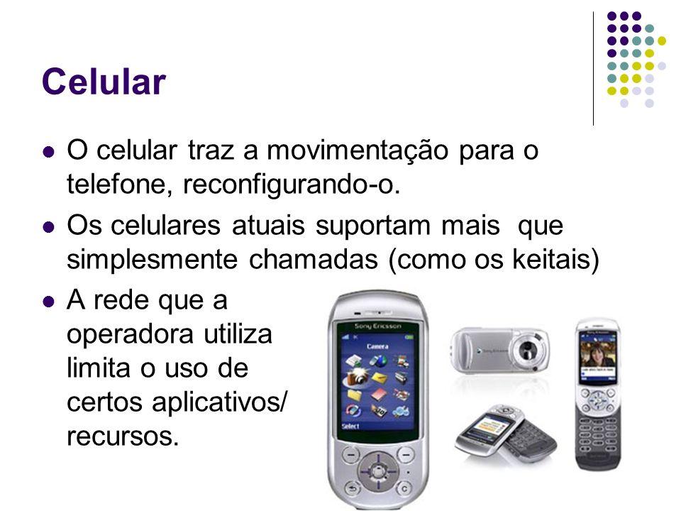 Celular O celular traz a movimentação para o telefone, reconfigurando-o. Os celulares atuais suportam mais que simplesmente chamadas (como os keitais)