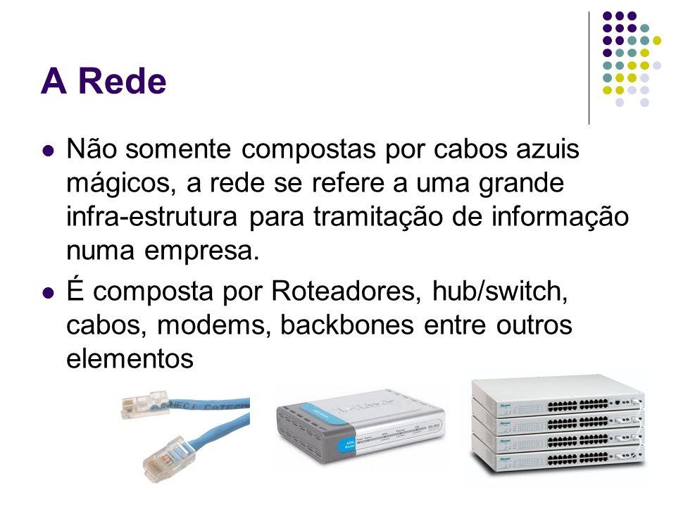 A Rede Não somente compostas por cabos azuis mágicos, a rede se refere a uma grande infra-estrutura para tramitação de informação numa empresa. É comp