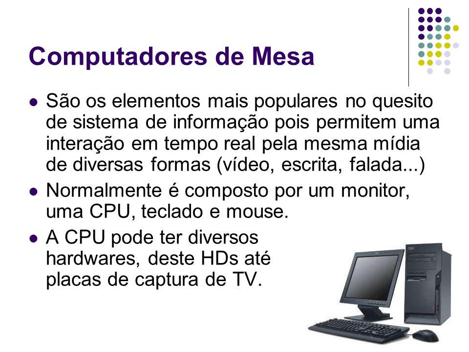 Computadores de Mesa São os elementos mais populares no quesito de sistema de informação pois permitem uma interação em tempo real pela mesma mídia de