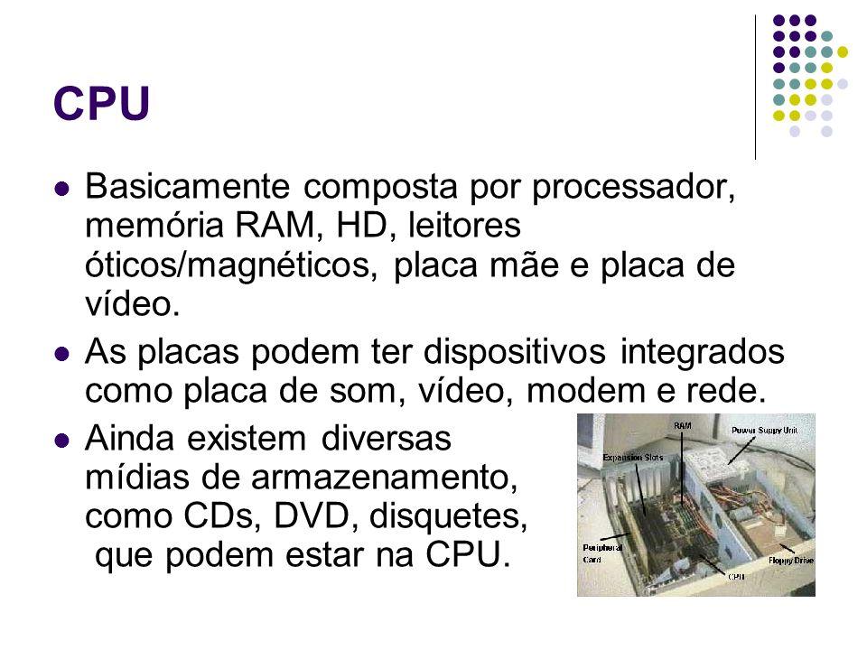 CPU Basicamente composta por processador, memória RAM, HD, leitores óticos/magnéticos, placa mãe e placa de vídeo. As placas podem ter dispositivos in