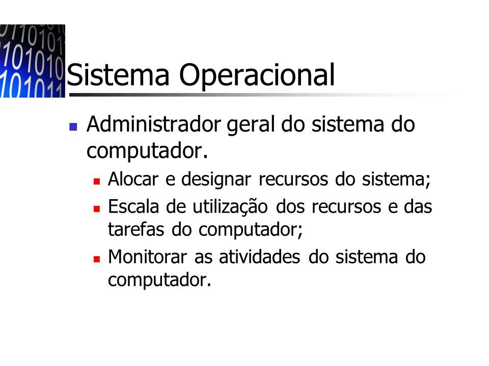 Sistema Operacional Administrador geral do sistema do computador.