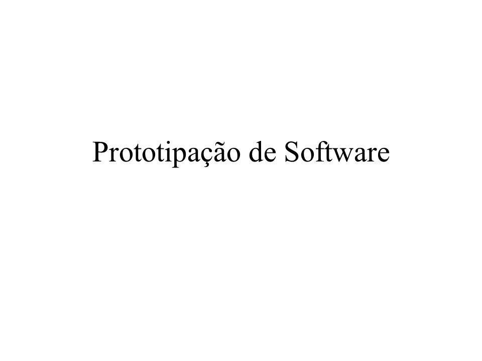 Prototipação Evolucionária Características –São usadas linguagens e ferramentas para desenvolvimento rápido; –As interfaces com o usuário do sistema são, geralmente, desenvolvidas utilizando-se um sistema de desenvolvimento interativo, que permite que o projeto de interface seja criado rapidamente.