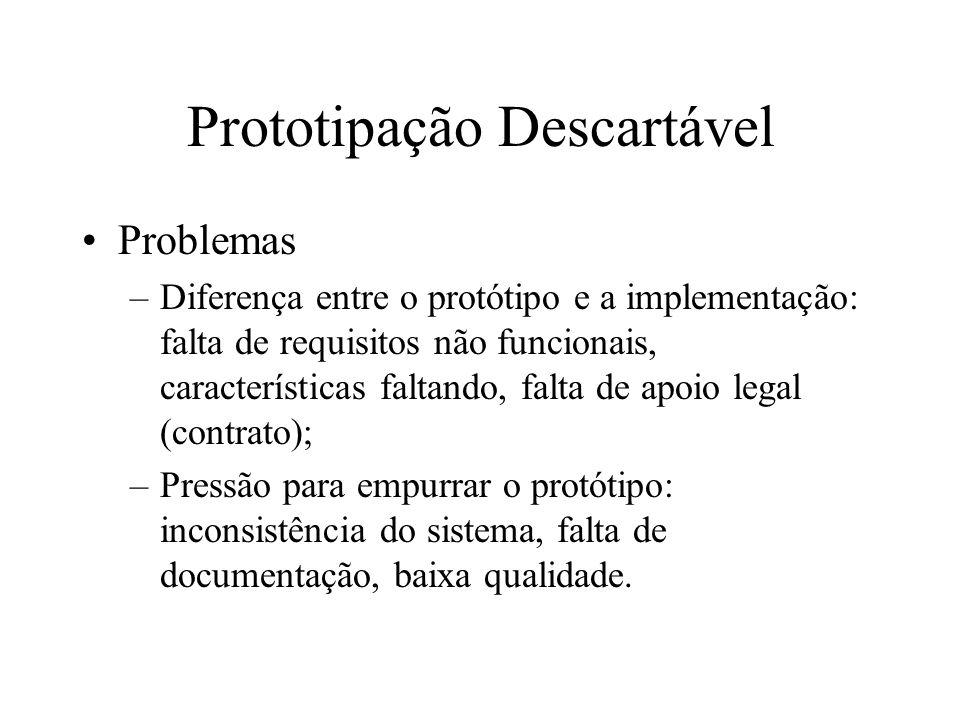 Problemas –Diferença entre o protótipo e a implementação: falta de requisitos não funcionais, características faltando, falta de apoio legal (contrato