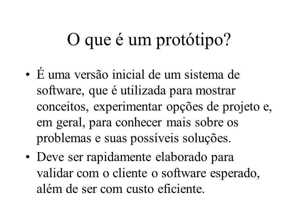 O que é um protótipo? É uma versão inicial de um sistema de software, que é utilizada para mostrar conceitos, experimentar opções de projeto e, em ger