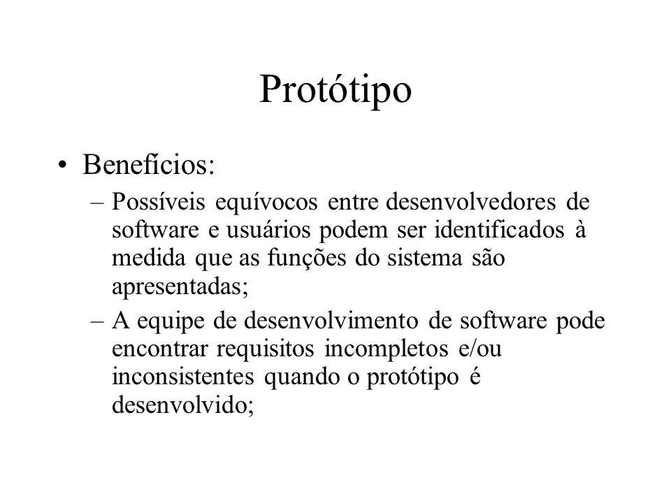Protótipo Benefícios –Um sistema operante, embora limitado, se torna rapidamente disponível, a fim de mostrar viabilidade e a utilidade da aplicação para a gerência; –O protótipo pode ser utilizado como uma base para escrever a especificação para um sistema com qualidade de produção.