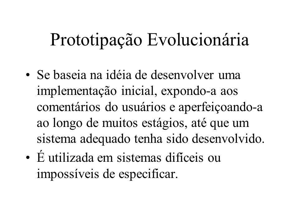 Prototipação Evolucionária Se baseia na idéia de desenvolver uma implementação inicial, expondo-a aos comentários do usuários e aperfeiçoando-a ao lon