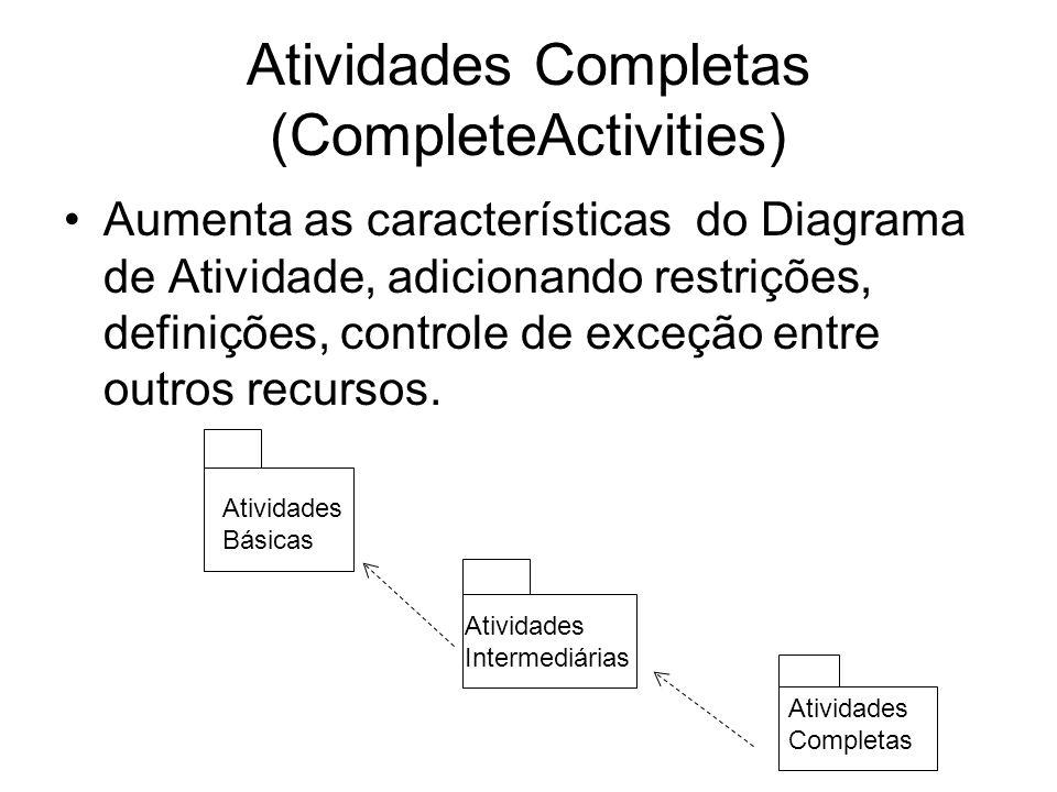 Atividades Completas (CompleteActivities) Aumenta as características do Diagrama de Atividade, adicionando restrições, definições, controle de exceção