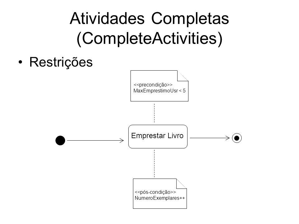 Atividades Completas (CompleteActivities) Comportamento do fluxo de objetos Solicitar Material Livro {requisitar} Encomendar Material {comprar} alt Solicitar Material Livro {requisitar}{comprar}