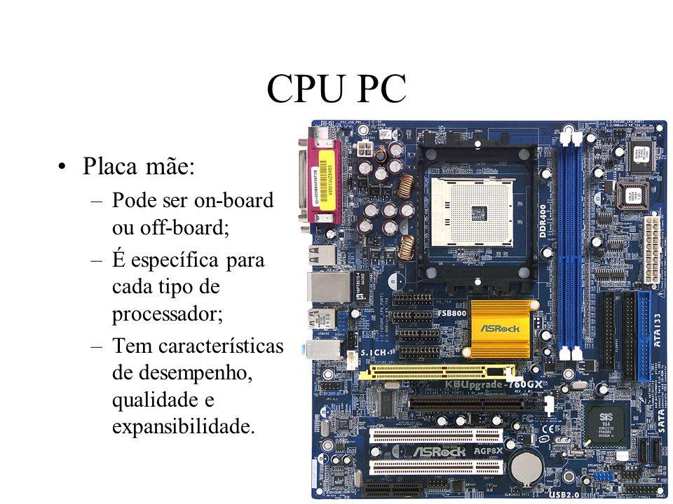 CPU PC Placa mãe: –Pode ser on-board ou off-board; –É específica para cada tipo de processador; –Tem características de desempenho, qualidade e expans