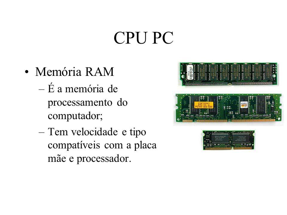 CPU PC Memória RAM –É a memória de processamento do computador; –Tem velocidade e tipo compatíveis com a placa mãe e processador.