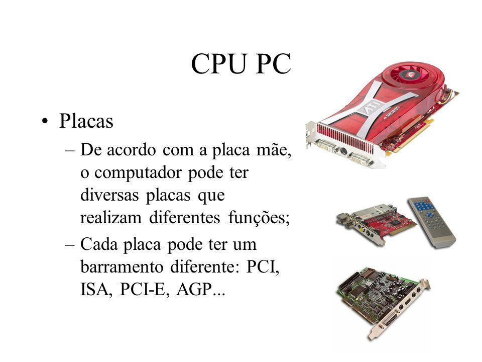 CPU PC Placas –De acordo com a placa mãe, o computador pode ter diversas placas que realizam diferentes funções; –Cada placa pode ter um barramento di