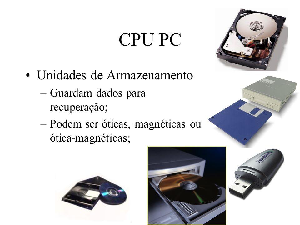CPU PC Unidades de Armazenamento –Guardam dados para recuperação; –Podem ser óticas, magnéticas ou ótica-magnéticas;