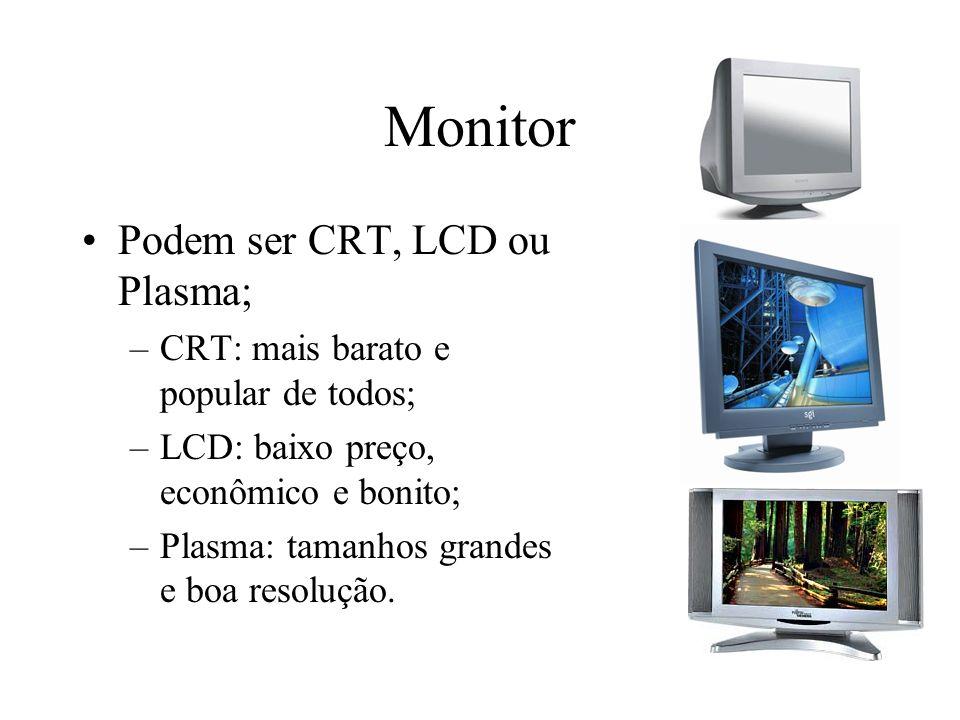Monitor Podem ser CRT, LCD ou Plasma; –CRT: mais barato e popular de todos; –LCD: baixo preço, econômico e bonito; –Plasma: tamanhos grandes e boa res