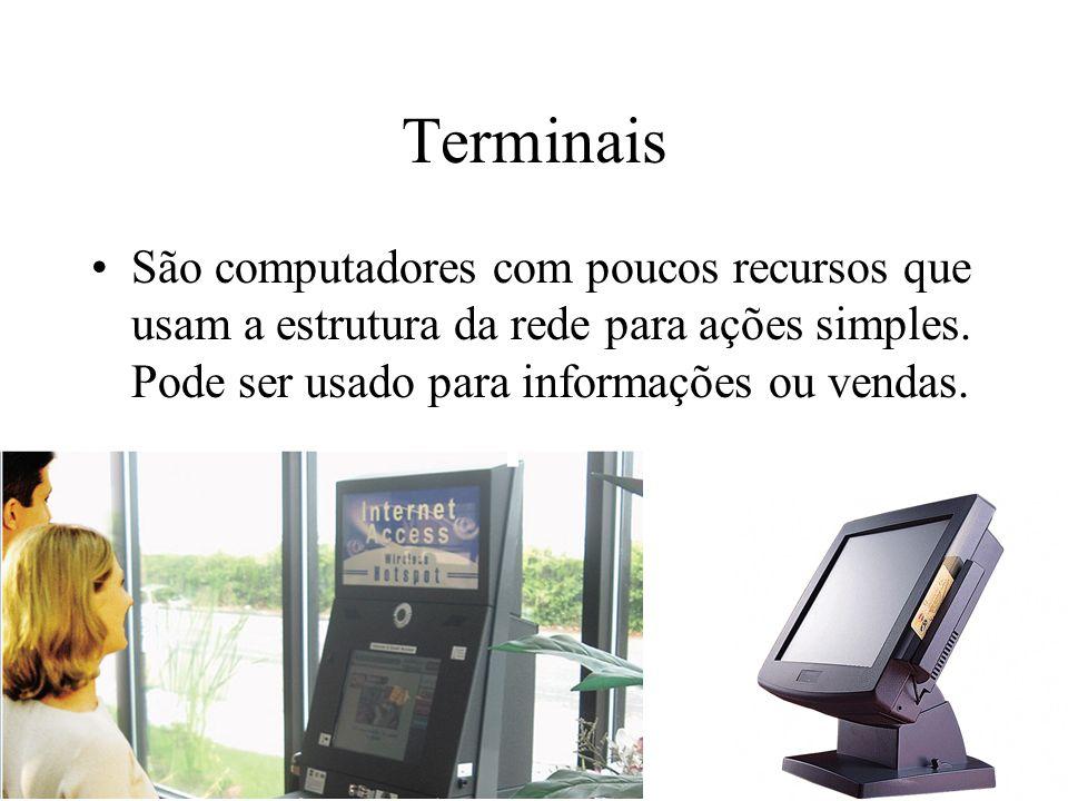 Terminais São computadores com poucos recursos que usam a estrutura da rede para ações simples. Pode ser usado para informações ou vendas.
