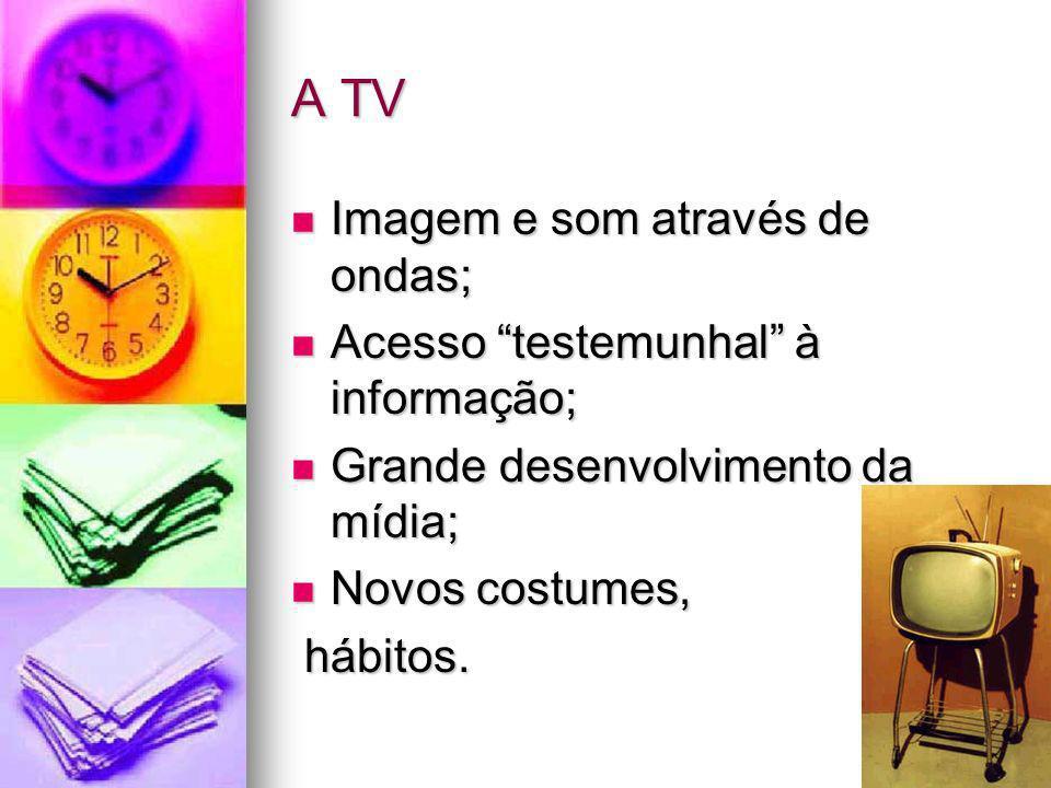 A TV Imagem e som através de ondas; Imagem e som através de ondas; Acesso testemunhal à informação; Acesso testemunhal à informação; Grande desenvolvi