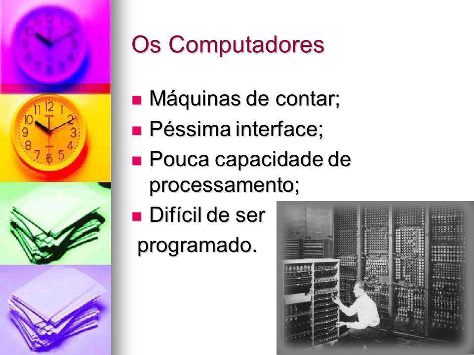 Os Computadores Máquinas de contar; Máquinas de contar; Péssima interface; Péssima interface; Pouca capacidade de processamento; Pouca capacidade de p