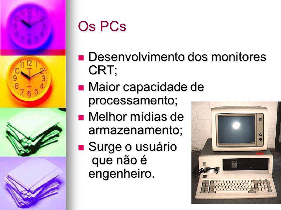 Os PCs Desenvolvimento dos monitores CRT; Desenvolvimento dos monitores CRT; Maior capacidade de processamento; Maior capacidade de processamento; Mel