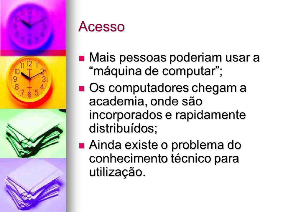 Acesso Mais pessoas poderiam usar a máquina de computar; Mais pessoas poderiam usar a máquina de computar; Os computadores chegam a academia, onde são