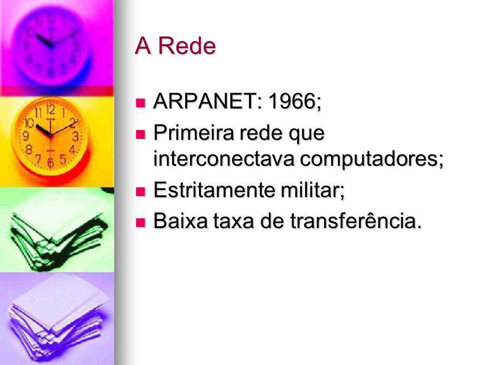 A Rede ARPANET: 1966; ARPANET: 1966; Primeira rede que interconectava computadores; Primeira rede que interconectava computadores; Estritamente milita