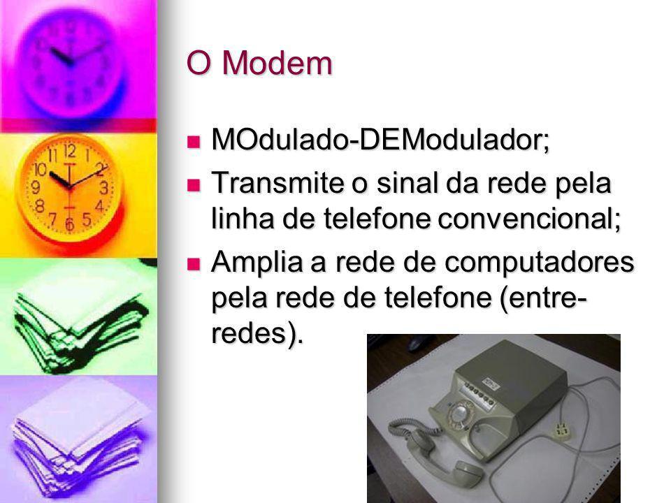 O Modem MOdulado-DEModulador; MOdulado-DEModulador; Transmite o sinal da rede pela linha de telefone convencional; Transmite o sinal da rede pela linh