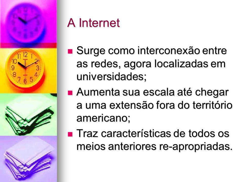 A Internet Surge como interconexão entre as redes, agora localizadas em universidades; Surge como interconexão entre as redes, agora localizadas em un
