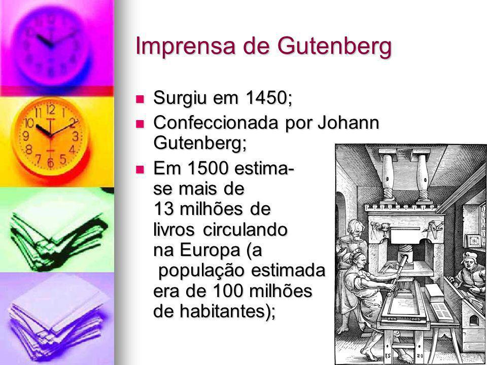 Imprensa de Gutenberg Surgiu em 1450; Surgiu em 1450; Confeccionada por Johann Gutenberg; Confeccionada por Johann Gutenberg; Em 1500 estima- se mais