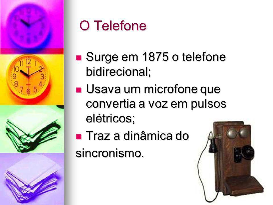O Telefone O Telefone Surge em 1875 o telefone bidirecional; Surge em 1875 o telefone bidirecional; Usava um microfone que convertia a voz em pulsos e