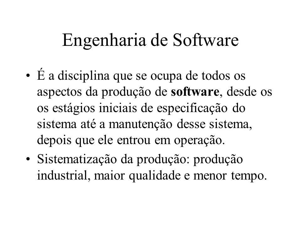 É a disciplina que se ocupa de todos os aspectos da produção de software, desde os os estágios iniciais de especificação do sistema até a manutenção d