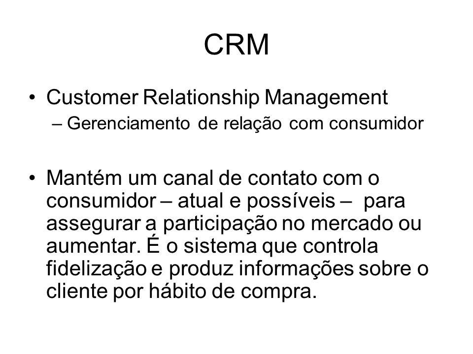 CRM Customer Relationship Management –Gerenciamento de relação com consumidor Mantém um canal de contato com o consumidor – atual e possíveis – para a