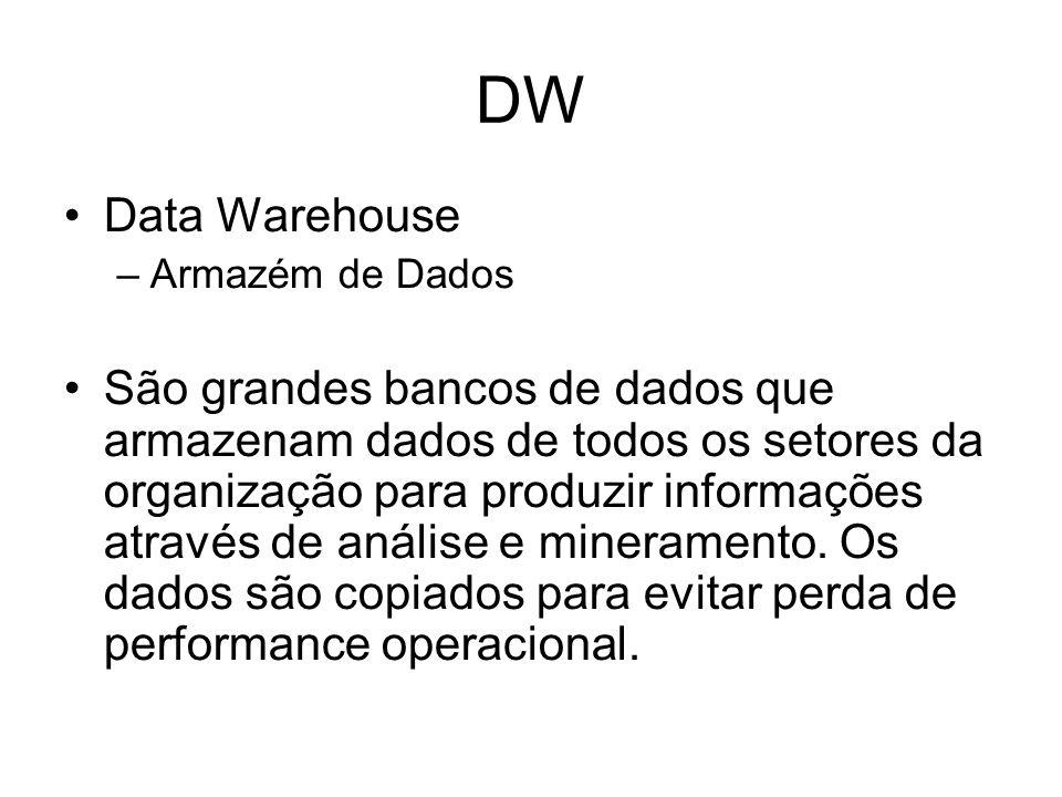 DW Data Warehouse –Armazém de Dados São grandes bancos de dados que armazenam dados de todos os setores da organização para produzir informações atrav