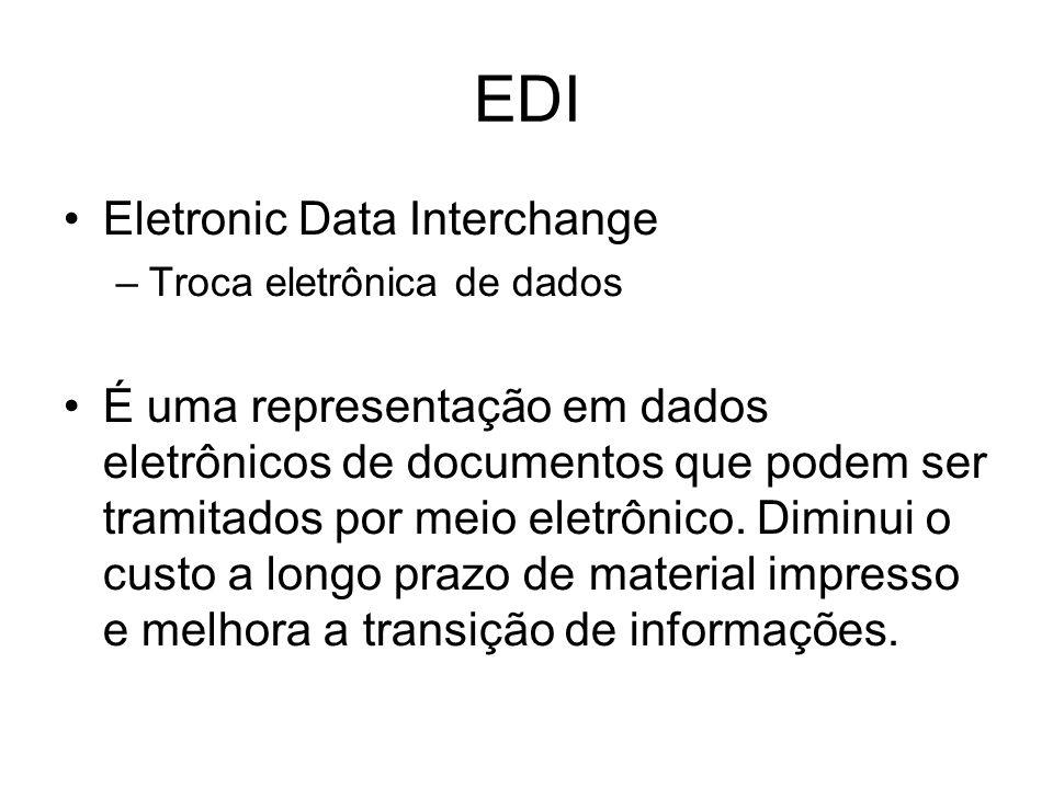EDI Eletronic Data Interchange –Troca eletrônica de dados É uma representação em dados eletrônicos de documentos que podem ser tramitados por meio ele