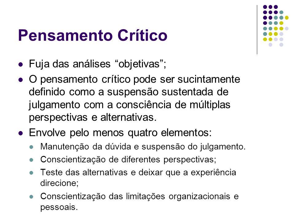 Pensamento Crítico Fuja das análises objetivas; O pensamento crítico pode ser sucintamente definido como a suspensão sustentada de julgamento com a consciência de múltiplas perspectivas e alternativas.