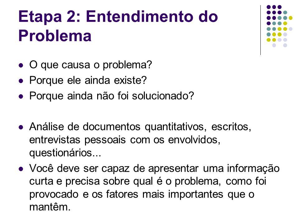 Etapa 2: Entendimento do Problema O que causa o problema.