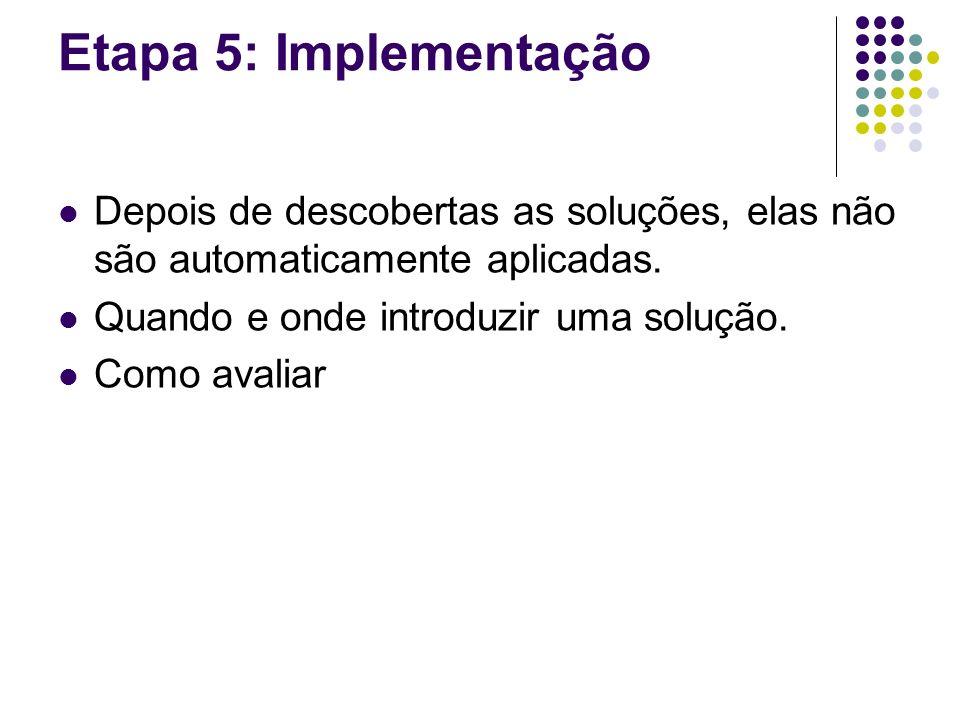 Etapa 5: Implementação Depois de descobertas as soluções, elas não são automaticamente aplicadas.