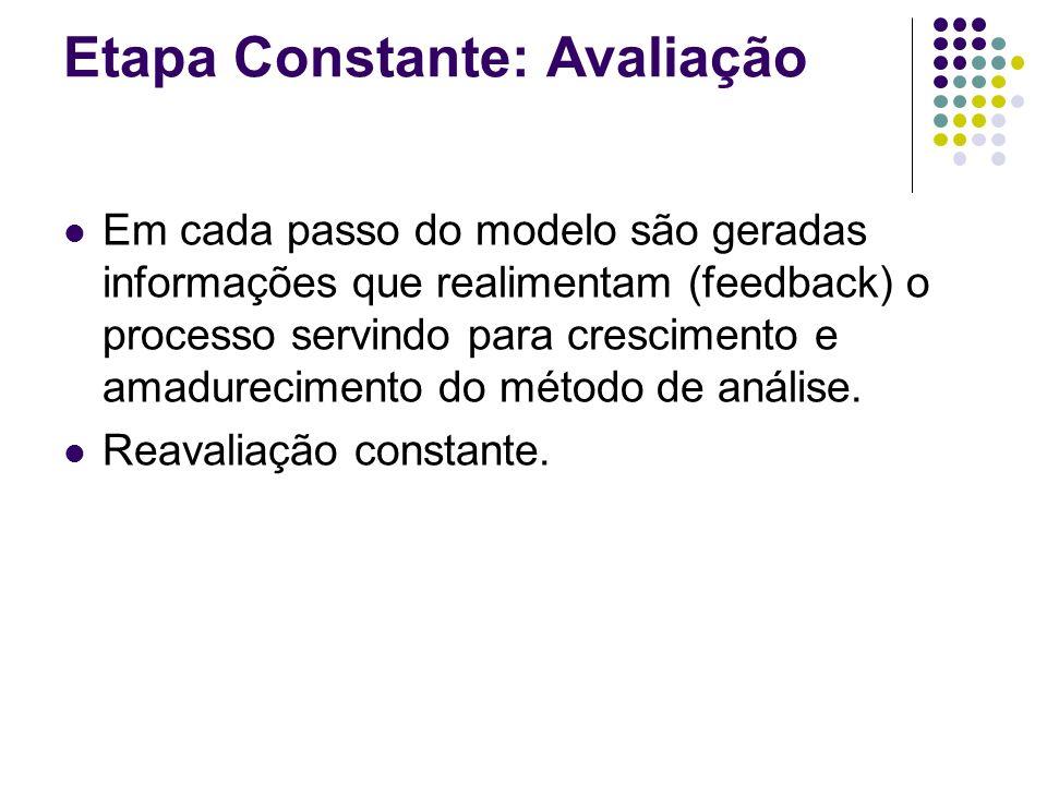 Etapa Constante: Avaliação Em cada passo do modelo são geradas informações que realimentam (feedback) o processo servindo para crescimento e amadurecimento do método de análise.