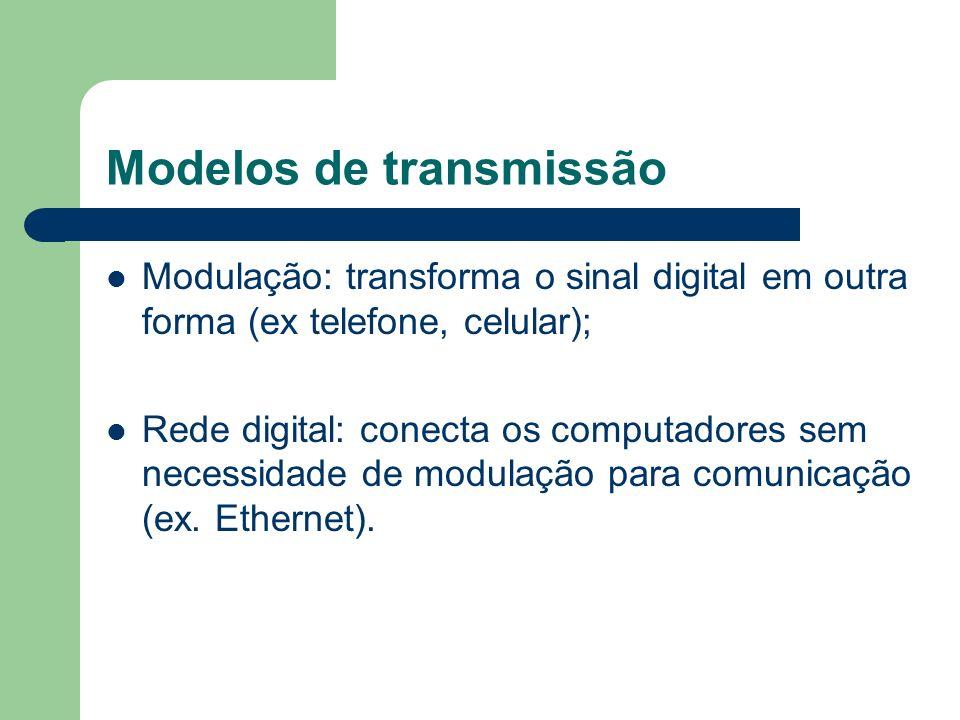Modelos de transmissão Modulação: transforma o sinal digital em outra forma (ex telefone, celular); Rede digital: conecta os computadores sem necessid