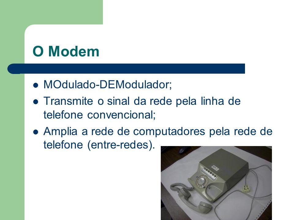 O Modem MOdulado-DEModulador; Transmite o sinal da rede pela linha de telefone convencional; Amplia a rede de computadores pela rede de telefone (entr