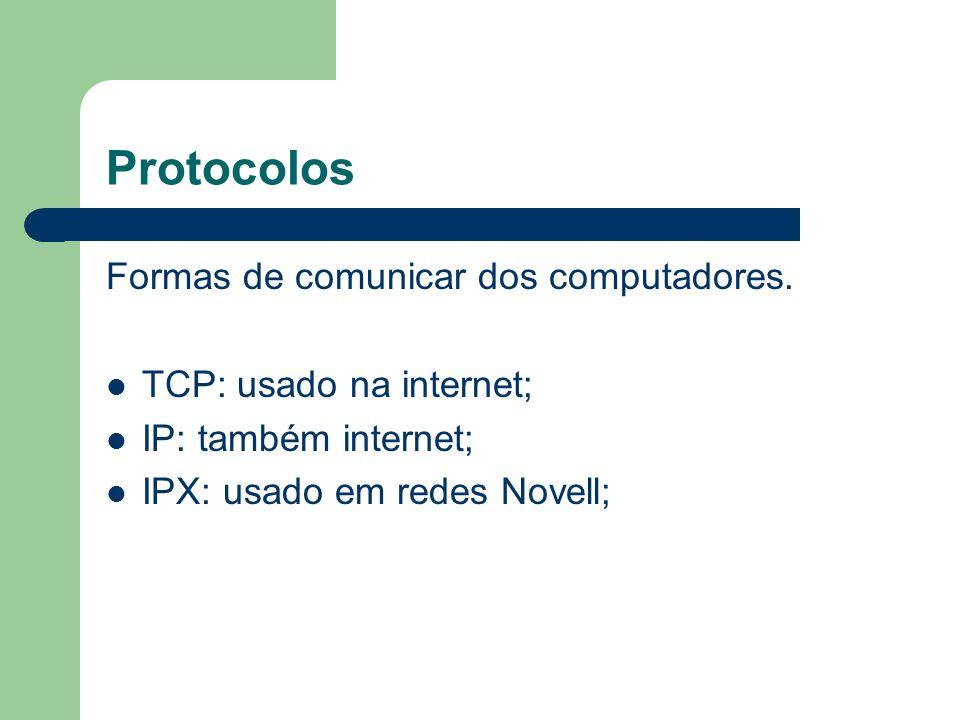 Protocolos Formas de comunicar dos computadores. TCP: usado na internet; IP: também internet; IPX: usado em redes Novell;