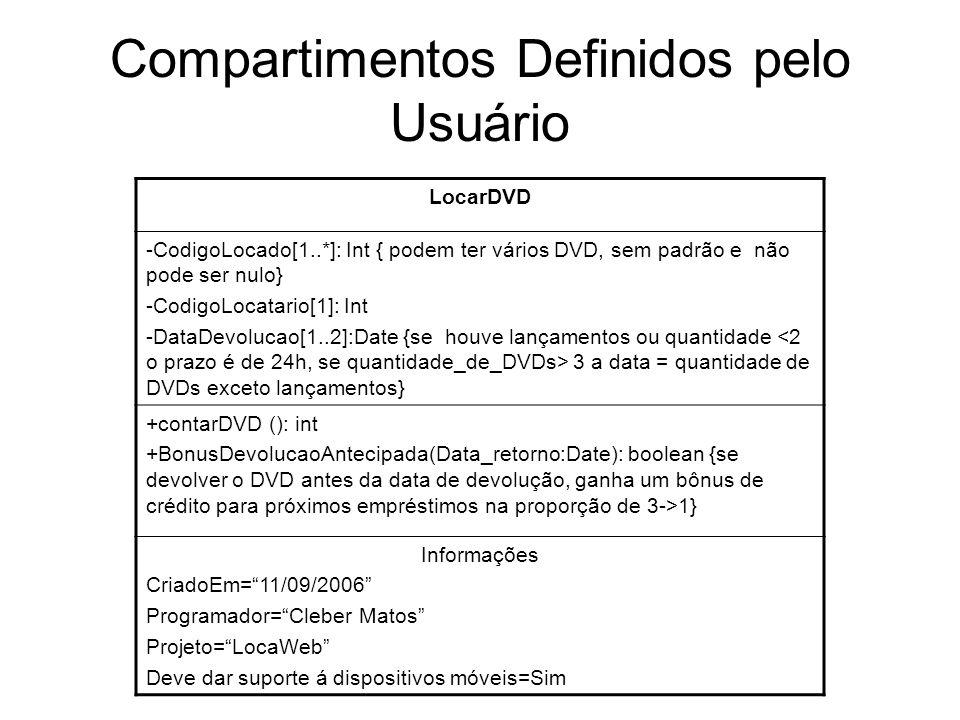 Compartimentos Definidos pelo Usuário LocarDVD -CodigoLocado[1..*]: Int { podem ter vários DVD, sem padrão e não pode ser nulo} -CodigoLocatario[1]: I