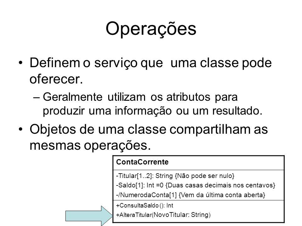Operações Definem o serviço que uma classe pode oferecer. –Geralmente utilizam os atributos para produzir uma informação ou um resultado. Objetos de u