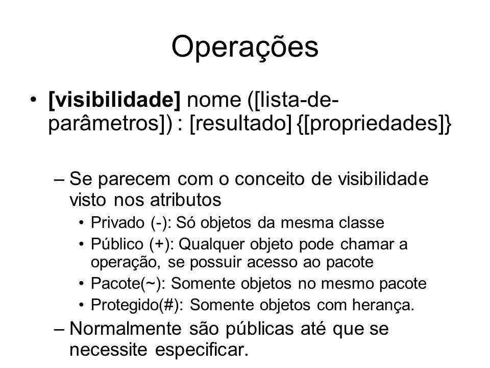 Operações [visibilidade] nome ([lista-de- parâmetros]) : [resultado] {[propriedades]} –Se parecem com o conceito de visibilidade visto nos atributos P