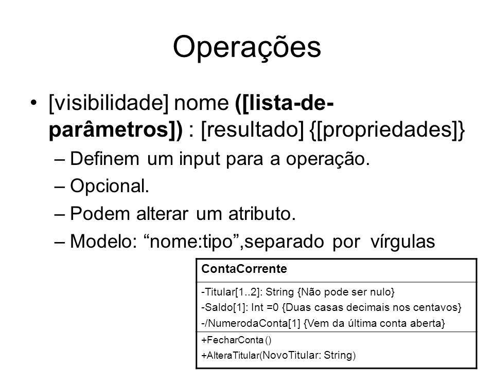 Operações [visibilidade] nome ([lista-de- parâmetros]) : [resultado] {[propriedades]} –Definem um input para a operação. –Opcional. –Podem alterar um