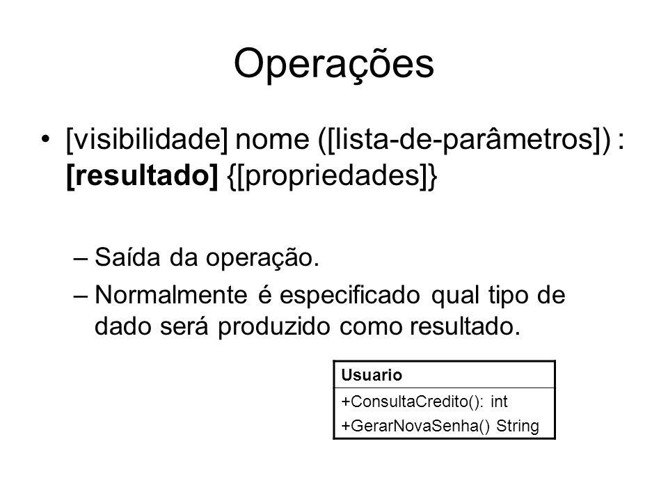 Operações [visibilidade] nome ([lista-de-parâmetros]) : [resultado] {[propriedades]} –Saída da operação. –Normalmente é especificado qual tipo de dado