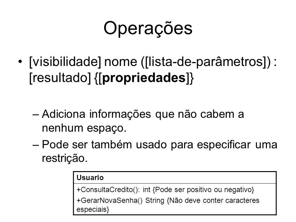 Operações [visibilidade] nome ([lista-de-parâmetros]) : [resultado] {[propriedades]} –Adiciona informações que não cabem a nenhum espaço. –Pode ser ta