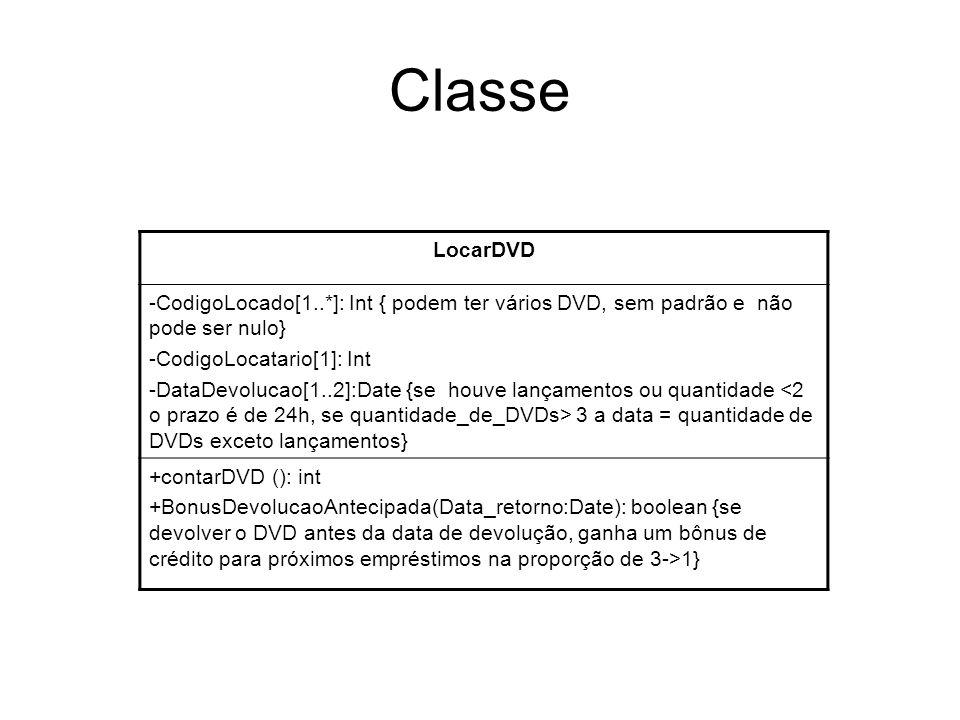 Classe LocarDVD -CodigoLocado[1..*]: Int { podem ter vários DVD, sem padrão e não pode ser nulo} -CodigoLocatario[1]: Int -DataDevolucao[1..2]:Date {s